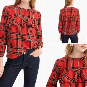 J. Crew•Ruffle Top in Festive Plaid•Size M